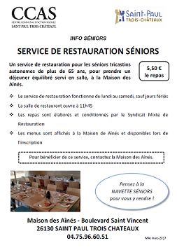 Informations pratiques - Restauration Seniors